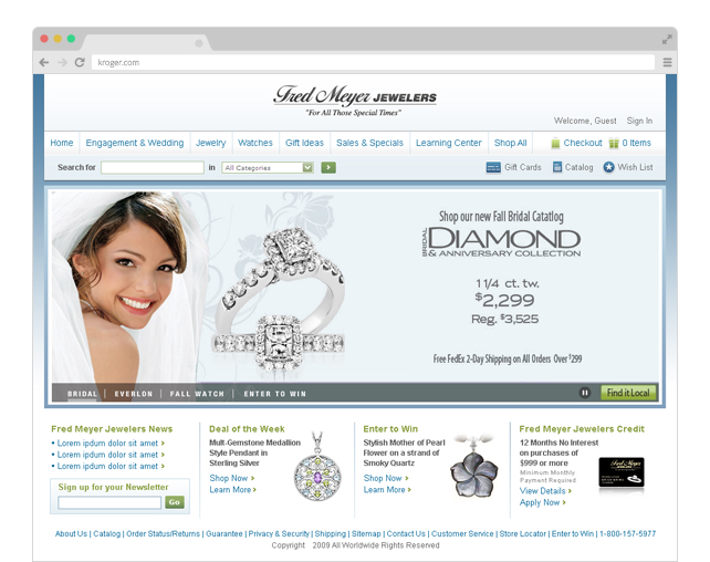 Fred Meyer Jewelers homepage redesign